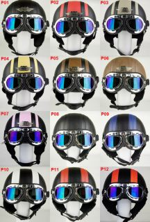 Leather Motorcycle Bike Open Face Helmet Goggles Free