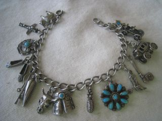 Vtg Sterling Western Charm Bracelet with Turquoise 68 Grams