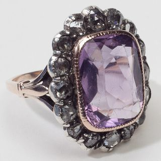 Antique Victorian Diamond Amethyst Gold Cocktail Ring Vintage Estate
