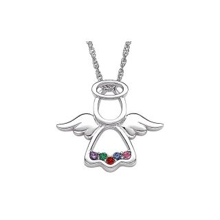 Silver Family Birthstone Color Crystal Angel Pendant with 20 Chain
