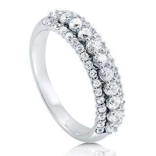 CZ 925 Sterling Silver 3 Row Half Eternity Ring Band Sz 6