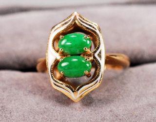 Vintage Jade with Enamel Ladies 14K Yellow Gold Ring ~ Ring Size 3