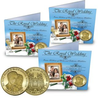 Prince William and Kate 24K Gold Plated Commemorative Coins   Set of 3