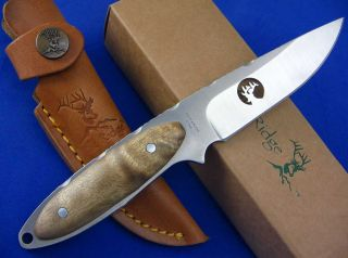Elk Ridge Fixed Blade Burl Wood Handle Full Tang Hunting Knife w