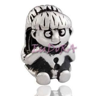 Cute girl Eudora silver screw charm bead fit bracelet S1100A