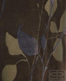 Emanuel UNGARO Brown Suede Gold Purple Applique Flared Pants Size 12