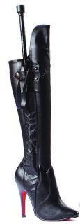 Ellie Shoes Sexy Knee High Boot Whip Black PU 5 High Heel 511 Sadie