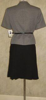 Evan Picone SS Black Multi Belted Skirt Suit Sz 12P $200