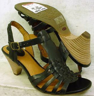NEW Clarks Artisan Womens Evant Emma Black Leather Sandals Shoes 60865