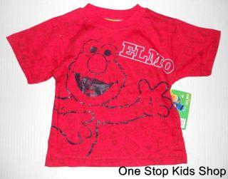 Elmo Boys 3T 4T 5T Short Sleeve Shirt Top Sesame Street