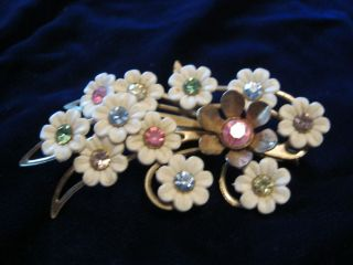 Emmons Floral Brocade Brooch with multi color rhinestone insets