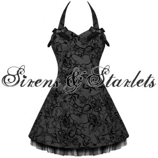 Black Flock Tattoo Rockabilly Goth Emo Mini Prom Dress