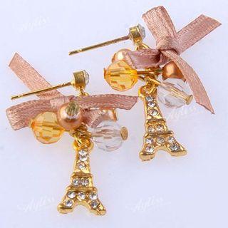 Golden Plate Crystal Resin Eiffel Tower Bow Dangle Ear Stud Earring