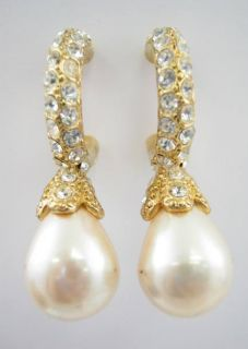 Erwin Pearl Gold Tone Crystal Faux Pearl Drop Earrings
