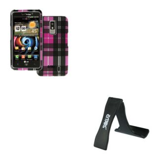 EMPIRE Pink Plaid Hard Case Cover + Cell Phone Stand for LG Spectrum
