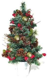 Decorated Pre Lit Christmas Tree Red Winter Berries Cabin Lodge Theme