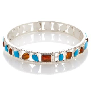 Jay King Sleeping Beauty Turquoise and Amber Bangle Bracelet