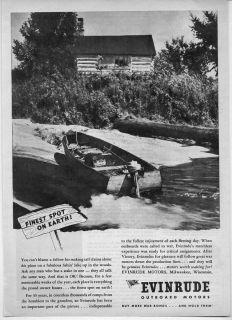 1945 Vintage Ad Evinrude Outboard Motors Log Cabin Wood Boat