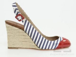 Louboutin Blue & White Striped Canvas & Red Patent Espadrilles, 39 NEW
