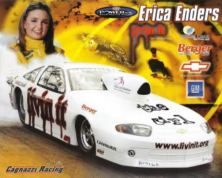 Erica Enders Pro Stock NHRA Drag Racing Handout Herocard Postcard