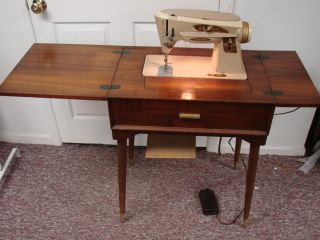 Vtg Singer Sewing Machine Table Set 1960s Retro Space Age Classic
