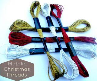 Embroidery Thread Cross Stitch Floss 3 x Skeins Christmas Metallic