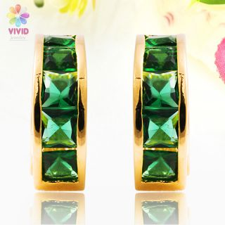 Fashion Jewelry Square Cut Green Emerald Yellow Gold GP Hoop Earrings