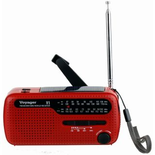 Voyager V1 Solar Crank Emergency Radio with Am FM and Shortwave Red