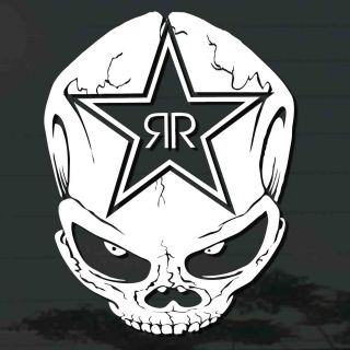 Tatto on X1p Rockstar Energy Drink Skull Head Sticker Cut Out Truck Car