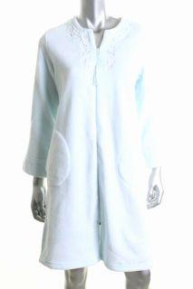 Miss Elaine New Blue Embellished Neck Long Sleeves Zip Up Short Robe