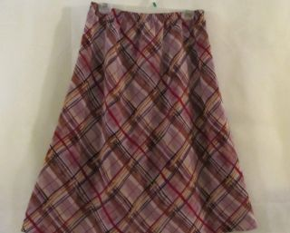 Susan Graver Peachskin Elastic Waist Pull on Skirt Purples or Reds