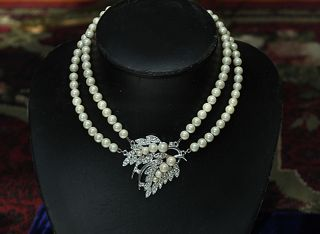 Emmons Rhinestone Faux Pearl Choker Necklace Vintage Signed