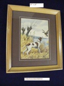Wood Print English Pointer Flushing A Duck 18x16 Hunting Dog