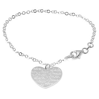 Personalized Sterling Silver Heart Charm Bracelet Free Engraving