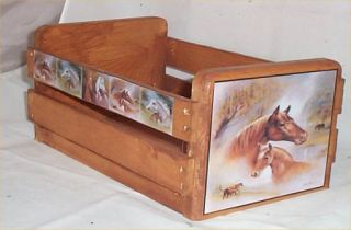 Gift Basket Empty Wood Crate Horse Decor Western Decoration Use for