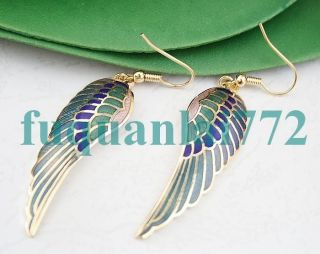 Gold Plated Cloisonne Angel Wing Dangle Earrings 3212