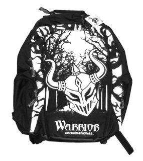 WARRIOR BRAND UFC MMA VIKING HELMET FOREST BLACK WHITE BACK PACK BAG