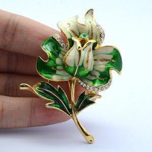Green Enamel Flower Tulip Brooch Broach Pin 2.5 W/ Clear Swarovski