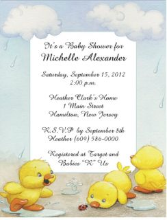 Neutral Color Duck Personalized Baby Shower Invitations w/Envelopes