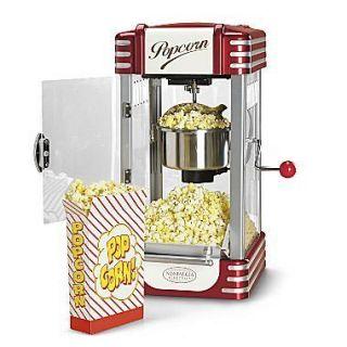 Mini Popcorn Machine w/ Stainless Steel Kettle ~ Home Retro Countertop