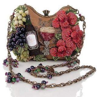 Mary Frances Mary Frances Bead Embellished Wine Evening Bag