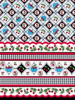 VERY CHERRY MARY ENGELBREIT DOUBLE BORDER CHERRIES IN DIAMONDS FABRIC