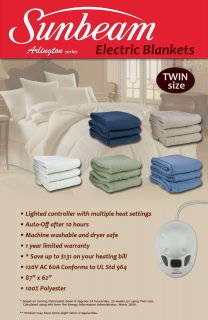 Sunbeam Arlington Electric Heated Warming Blanket Throw Twin Size 5