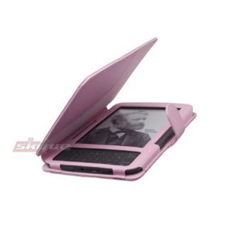 For  Kindle 3 eReader Leather Case Cover Stylish Jacket PINK