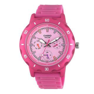 Casio Womens Analog Pink Glitter Dial Sport Watch
