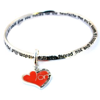 Moms Heart Charm Infinity Silver Bangle Engraved Poem Bracelet Mothers