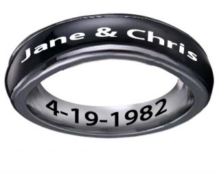 Laser Engraved Personalized Black Tone Steel Spinner Ring WomenS