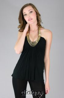 Sky Brand Top Exeter Sequin Bead Chain Halter Sz M