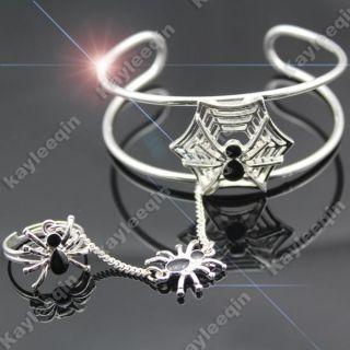 Fab Silver Spider Bracelet Bangle Cuff Ring Web Slave Chain Hand