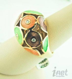 Faberge 18K Rose Gold Diamond 0 09cts Multicolor Enamel Ring Sz 7 New